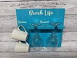 Beach Life Sunrise Sunset Wine and Coffee Sign Glass Holder Coffee Mug How to Tell Time Am Pm Housewarming Gift Farmhouse Lake House