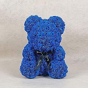 Handfly Rosa Flor Oso 40cm, Rosa Oso Flor Oso Flor Eterna Espuma Artificial Rosa Flor Oso Día de San Valentín…
