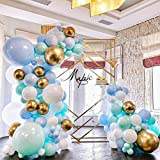 Mint Blue White Gold Metallic Balloon Garland Arch Kit 120 Pastel Macaron Latex Balloons with 16ft Balloon Strip Tape , balloon dots and Balloon Ribbon for Baby shower Wedding Bridal Shower Birthday Party decoration