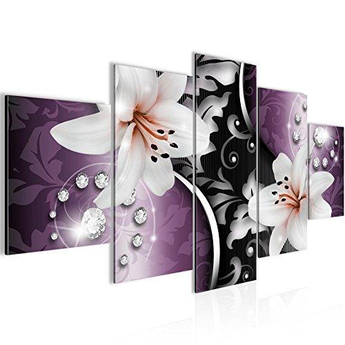 Lilien Premium Vlies Leinwandbild 200 x 100 cm - Deko für Wohnzimmer -Wandbild - XXL 5 Teilig Teile - leichtes Aufhängen- 801051c
