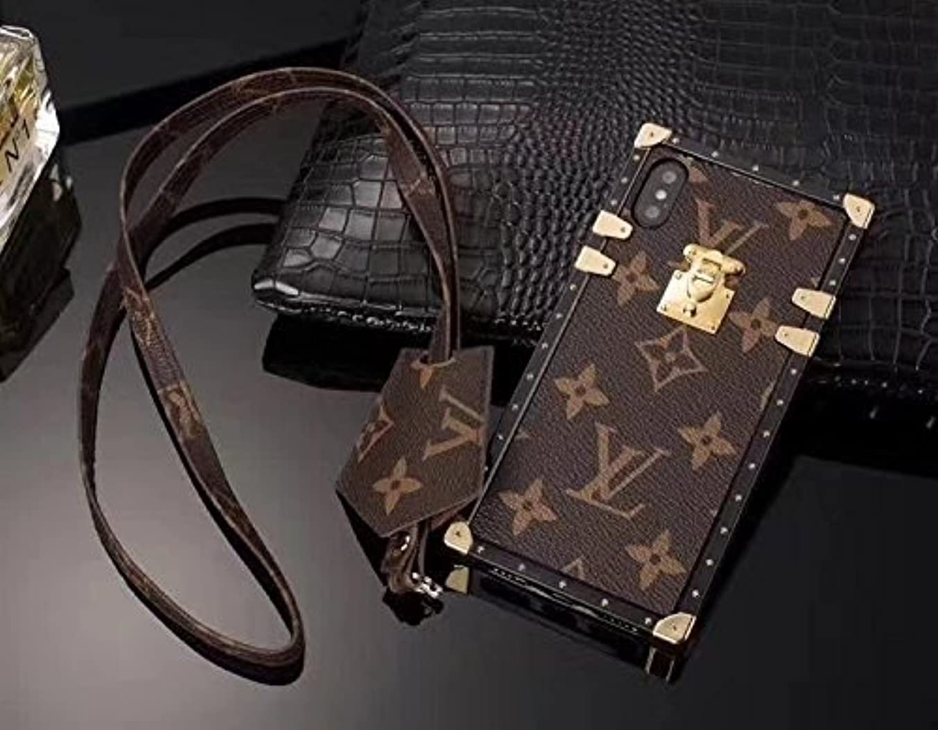 Trunk Case for iPhone 6,iPhone 6S,Fashion Elegant Luxury PU Leather Wallet Monogram Style Full Protection Cover Case with Lanyards Compatible for Apple iPhone 6 / iPhone 6S