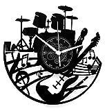 Instant Karma Clocks Horloge Murale en Vinyle Guitare Musique Clavier Batterie Musicien, Design Moderne, Idée Cadeau
