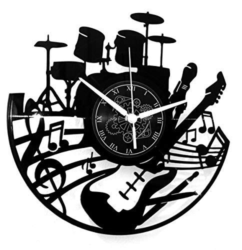 Instant Karma Clocks Wanduhr aus Vinyl Vintage Handmade Gitarre Batterie Schlagzeuger, Geschenkidee Musiker, Haus Dekoration Musikliebhaber