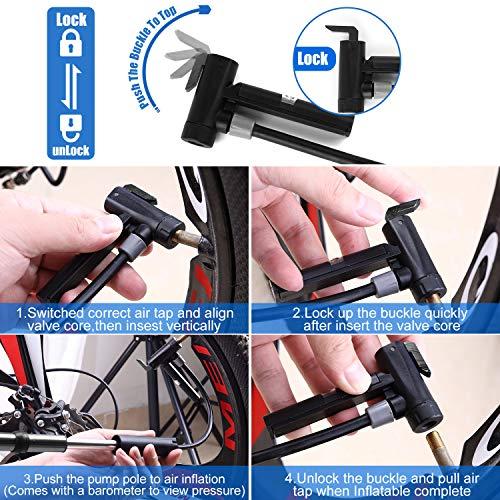 Linko Mini Fahrradpumpe mit Manometer für Presta & Schrader Ventile, Fahrradpumpe Max. Druck 120 PSI / 8 Bar Fahrradluftpumpe, Handpumpe für Basketbälle, Fußbälle, Rennrad und Mountainbike - 5
