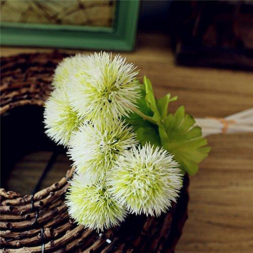 Riverbyland Artificial Flowers White Green Dandelion 6 pcs