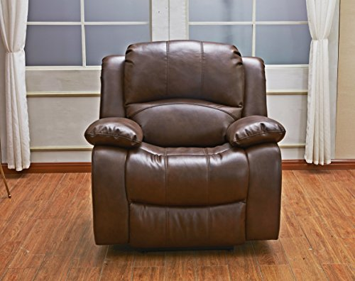 Betsy Furniture Bonded Leather Recliner Set Living Room Set, Sofa Loveseat Chair Pillow Top Backrest and Armrests 8018 (Brown, Glider Chair)