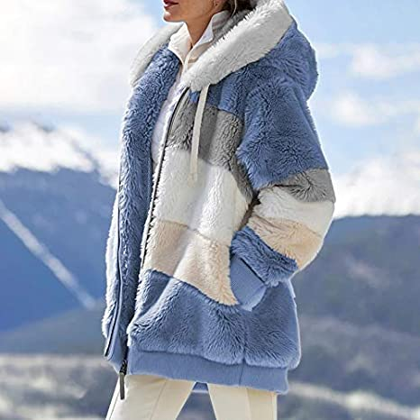 eamqrkt Womens Winter Long Long Padded Jacket,Contrasting Plush Padded Coat Loose Fit Zipper Closure Hooded Coat,Warm /& Lightweight Ladies Jacket,Suitable for Casual,Travel,Party,Work Etc