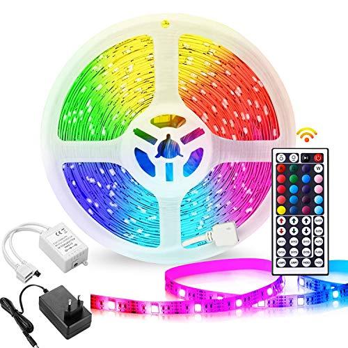 LED Streifen 10M, LEHXZJ 1X10M LED Strips 5050 SMD 300 LED Lichtband mit 44 Tasten Fernbedienung, 24V Netzteil Nicht Wasserfest für Haus, Raum, Party, Hochzeit, Dekoration