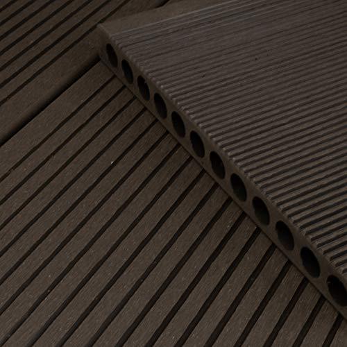 HORI® WPC-Terrassendiele Anthrazit XXL Hohlkammer Diele I Komplettset inkl. 40x60 mm Unterkonstruktion & Clips I Fläche: 5 m² I 2,90 m Dielenlänge