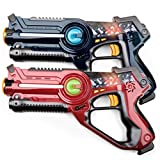 USA Toyz Laser Tag Toy Guns for Boys and Girls - 2pk Kids Toys Multiplayer Shooting Game Lazer Tag Set w/ 2 Laser Tag Guns for Kids and Adults (Blue and White)