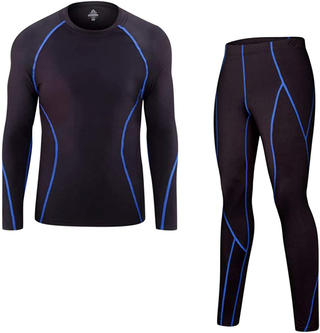 Mens Thermal Underwear Suit Winter Warm Stretchy Base Layer Compression Long Johns Set