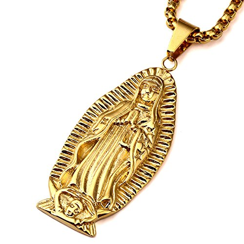 """jajafook Unisex 18K chapado en oro católica Virgen María de Guadalupe Colgante Collar, 27.6""""cadena"""