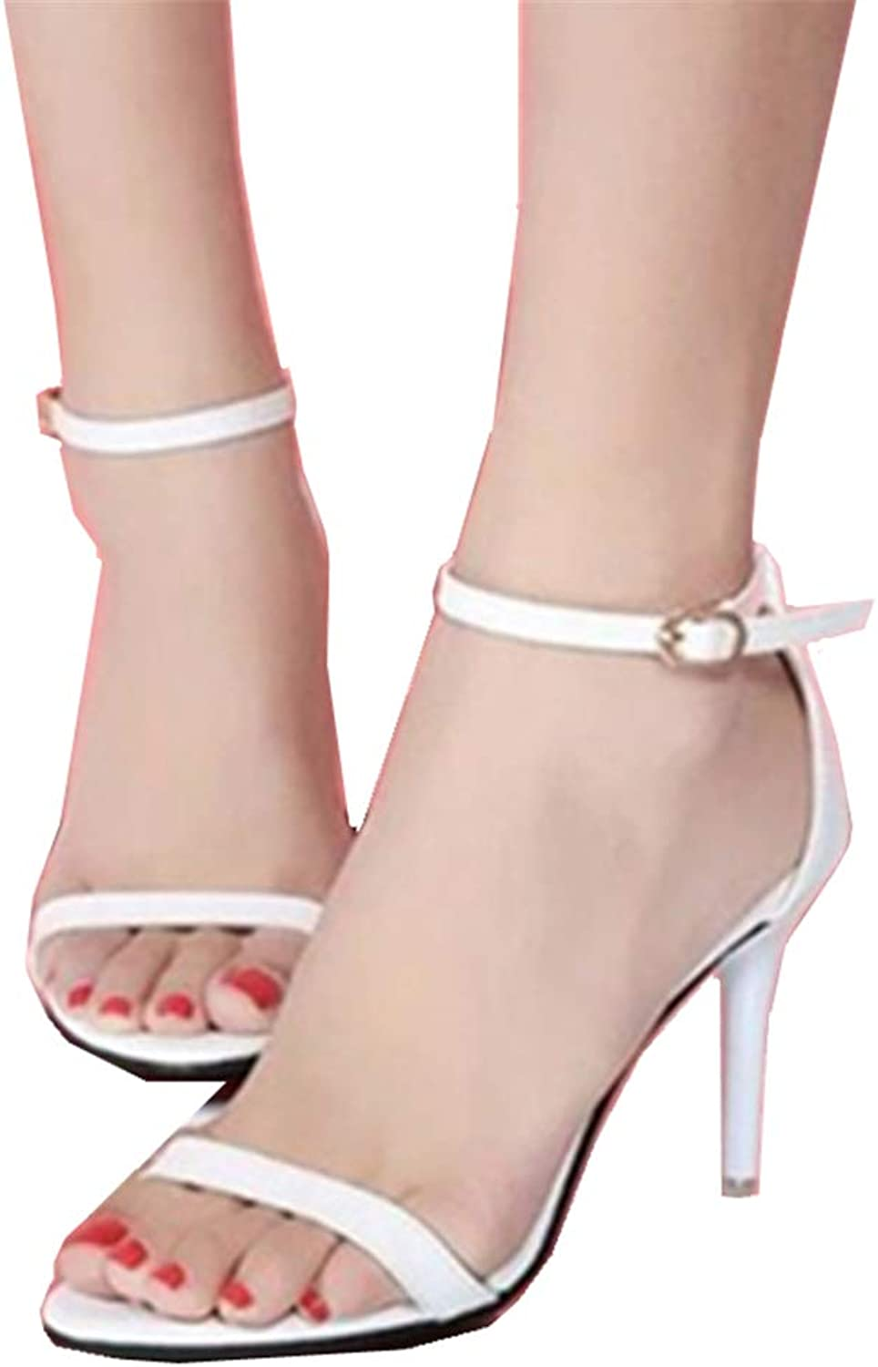 CHENGLing Women's Open Toe Stiletto High Heel Ankle Strap Sandals for Dress Wedding Party