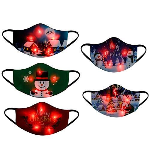 Celucke Glitzer Mundschutz Erwachsene Multifunktionstuch Weihnachten LED Licht Maske Bandana Glänzend Weihnachtsmotiv Weihnachts Halstuch Christmas Festival Kostüme Santa Kleidung