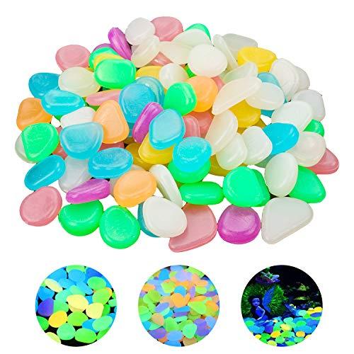 100 Pcs Glowing Pebbles Stones Colorful Luminous Cobblestones,Fish Tank Decorations Gravel Glow in...