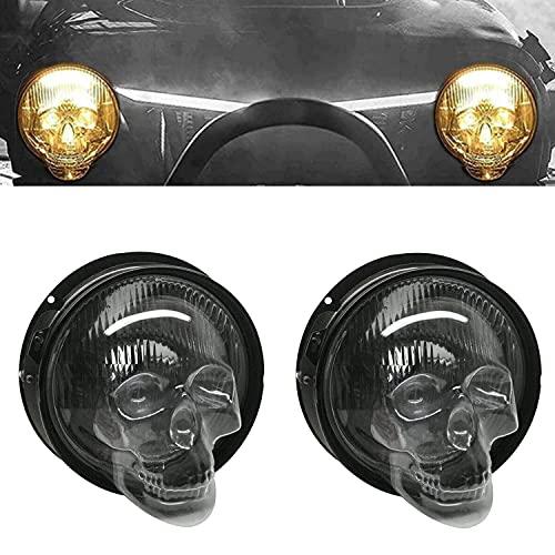 Skull Headlight Covers for Car Truck, Auto Decorative Protective Head Lamp Cover Accessory, Universal Headlight Lamp Helmets Cover for Car Protective Head Lamp Cover Decorative (2pc,S)