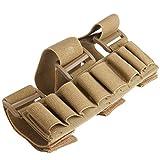 Estuche con sujeción al brazo para 8 cartuchos de escopeta de caza (calibre 12, redondo), Caqui