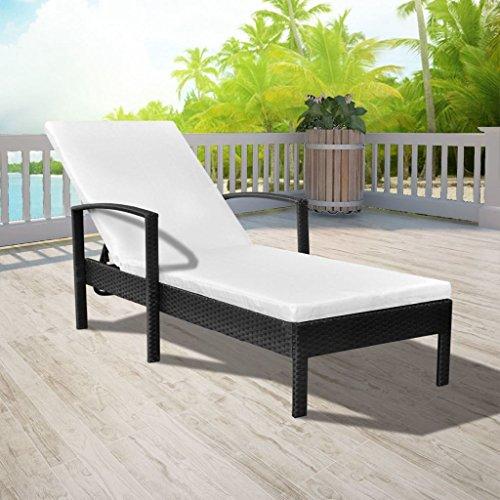Lingjiushopping Chaise Longue inclinable avec Coussin en polyrotin Noir Couleur du Coussin : Blanc crème Bains de Soleil
