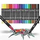 Dual Brush Pen, Surcotto 24 Farben Filzstifte Set Aquarell Doppelfasermaler Fineliner 0,4 mm und Pinserstifte 1-2 mm, Für Malbuch Bullet Journal Kalligraphie Ostern geschenke für Kinder und Erwachsene