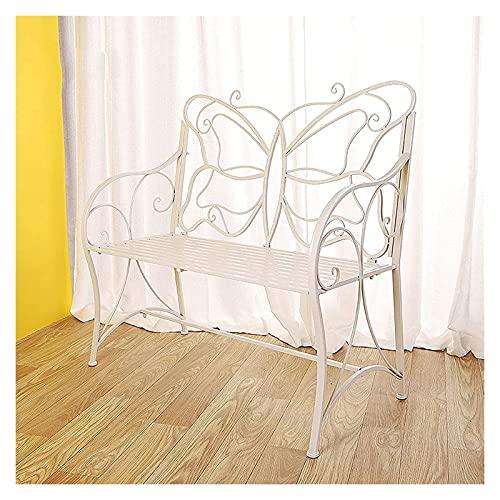 Banco al aire libre Banco de patio, muebles de porche delantero, bancos de jardín, sillas dobles de hierro de metal para exteriores, banco de 2 plazas para balcones, parques, patios y patios, ban