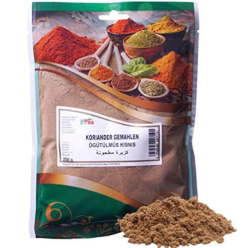 Arba Gewürze - Koriander (gemahlen) - Hochwertiges Koriander-Pulver zum Kochen und Würzen, fein gemahlen aus der Korianderpflanze, Premium-Gewürz (250g)