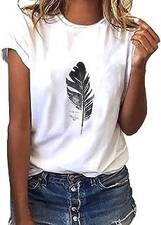 تي شيرت نسائي من TOPME بأكمام قصيرة تي شيرت مطبوع بأوراق الشجر قميص غير رسمي برقبة دائرية