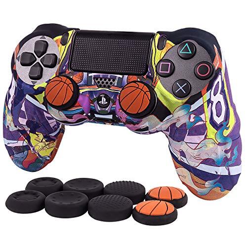 CHIN FAI Basketball NBA Star Case Kobe Camouflage Mamba Funda de Silicona para Sony PS4 / Slim/Pro Dualshock 4 Controller + FPS Pro Thumb Grip x 8(Camuflaje Violeta)