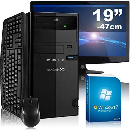 Leises Multimedia- & Gaming PC-Komplettpaket AGANDO campo 5324a4   AMD A4-5300 2x 3.4GHz   4GB RAM   AMD Radeon R7 240 2GB   1000GB HDD   DVD-RW   Gigabit-LAN   7.1 Sound   Win7Pro   47cm (19