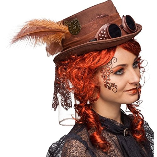Amakando Gothic Zylinder Steampunk Hut braun Accessoire Retrofuturismus Viktorianische Kopfbedeckung Punk Kostüm Accessoire Zylinderhut Retrolook