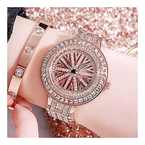 Relojes De Pulsera para Mujeres Mecánico Completamente Automático Diseño Original De Diamante Completo Mariposa Estrellada Movimiento De Cuarzo Inoxidable Impermeable Reloj De Mujer (Color : Gold)