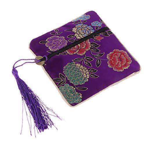 FLAMEER Guzheng Nagel Beutel Tasche für Schmuck, Münzen, Würfel und andere Kleinigkeiten geeignet - Lila