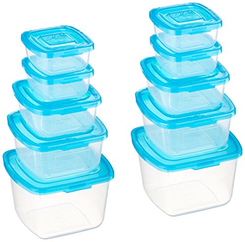 Mr. Lid Premium Attached Storage Containers | Permanently Attached Plastic Lid, Never Lose | Space Saving | 10 Piece