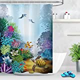 LB Colorful Sea Life Shower Curtain Ocean Theme Tropical Fishes Dolphins with Turtle Sea Creatures Kids Ocean Shower Curtain Polyester Fabric 72x72 Inch with 12 Hooks