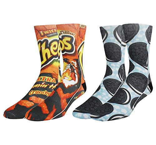 Mens Funny Crazy Colorful 3D Graphic Pattern Novelty Wacky Basketball Socks 2 Pack Gift,Cheetos Cookie