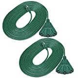 DEWENWILS 25 FT Green Outdoor Tri-Tap Extension Cord Splitter, Weatherproof 16/3 SJTW Power Cable for Christmas Decoration and Landscaping Lights, UL Listed, Pack of 2