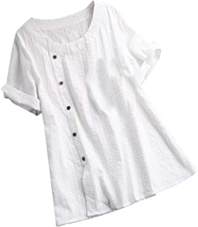 JustWin Women Loose Solid Color Cotton and Linen O-Neck Short Sleeve Plus Size Button Lightweight Elegant Shirt