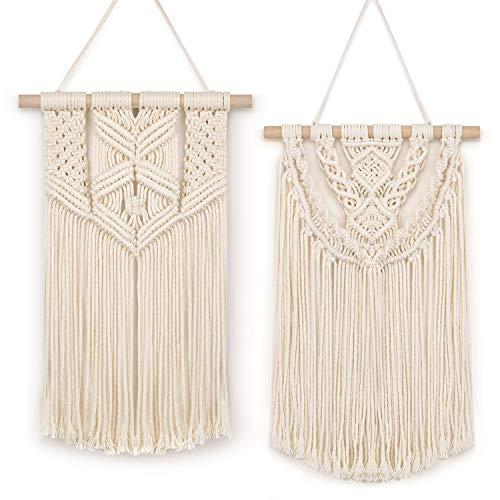 BONTHEE 2 piezas de macramé para colgar en la pared, pequeño tapiz tejido, hecho a mano, cuerda de algodón, bohemio, decoración de pared, color beige