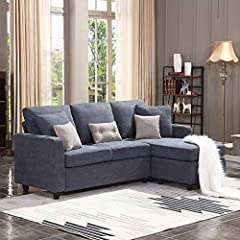 Comfortable sectional sofa: The cushions you sit on are nice and firm. You'll never have to worry about sinking in.The more you sit in it the better. Thicker cushions and fluffy back cushions provide you with much support. Space Saving sofa: Small sp...