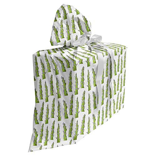 ABAKUHAUS Spargel Baby Shower Geschänksverpackung aus Stoff, Artikel Greenery Veggie, 3x Bändern Wiederbenutzbar, 70 x 80 cm, Coconut Apfelgrün