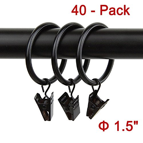 40pcs Rustproof Drapery Matte Stainless Steel Metal Curtain Rings with Clips 1.5 inch Drapery Rings, Vintage Black (1.5