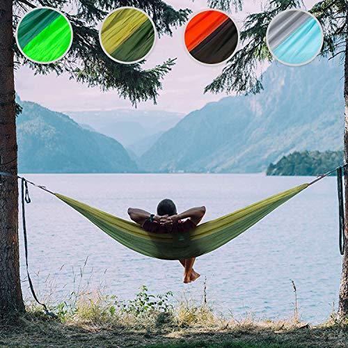 casa pura Reißfeste Outdoor Hängematte MINCA | Fallschirm-Nylon in Militär-Qualität | 275x140 cm | für Camping Garten Outdoor | Ultraleicht & bis 200 kg belastbar | eingenähte Tragetasche (armeegrün)