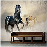 Wkxzz 壁の背景装飾画 カスタム写真壁画壁紙現代3D馬アート壁画リビングルーム研究背景装飾-150X120Cm