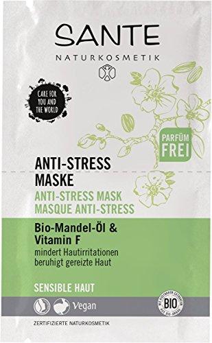 SANTE Naturkosmetik Anti-Stress Maske, Beruhigt gereizte Haut, Spendet intensive Feuchtigkeit, 1x8g