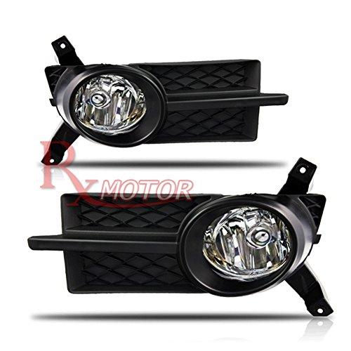 Rxmotor 2007-2011 Chevrolet Aveo Chevy 4dr Sedan GM2592164, GM2593164 Driver & Passenger Side Fog Light + Wiring Kit + Brezel Cover (Black)