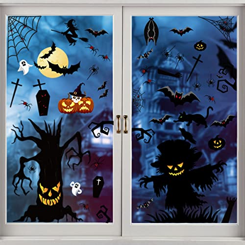 4 Feuilles Halloween Fenêtre Autocollants,Stickers Vitre Halloween,Décoration de Fenêtre Halloween,Stickers Muraux Halloween pour Décoration de Fête D'Halloween