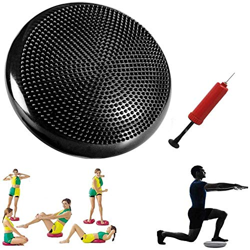 Inflated Wobble Cushion With Hand Pump, Made Of Professional Grade Anti-Burst PVC, Suitable for Yoga Studios, Fitness Clubs, Schools And At Home