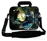 RICHEN 14 15 15.4 15.6 inch Laptop shoulder bag Messenger Bag Case Notebook Handle Sleeve Neoprene Soft Carring Tablet Travel Case with Accessories pocket (14-15.6 inch, Clock & Butterfly)