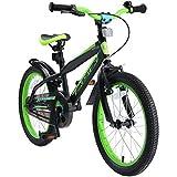 BIKESTAR Bicicleta Infantil para niños y niñas a Partir de 5 años | Bici de montaña 18 Pulgadas con Frenos | 18' Edición Mountainbike Nero Verde