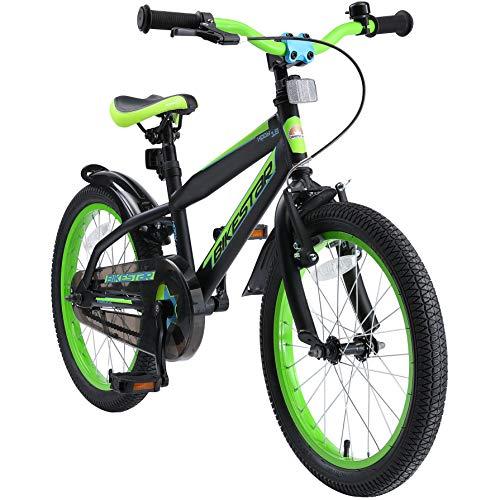 "BIKESTAR Bicicleta Infantil para niños y niñas a Partir de 5 años | Bici de montaña 18 Pulgadas con Frenos | 18"" Edición Mountainbike Nero Verde"