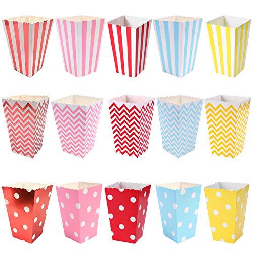YuChiSX 45 Pcs Papier Popcorn Boxen, Popcorntüten, Popcornboxen Tüte Lebensmittelqualität Papiertüten, Party Snacks Boxen für Leckereien und Süßigkeiten, für Geburtstagsfeiern, Filmabend, Weihnachten